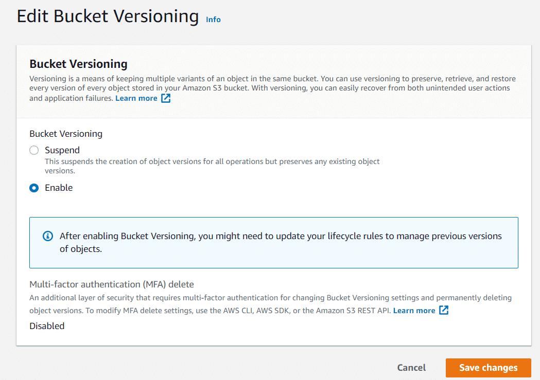 AWS S3 Versioning